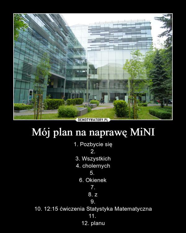 Mój plan na naprawę MiNI – 1. Pozbycie się2.3. Wszystkich4. cholernych5. 6. Okienek7.8. z9.10. 12:15 ćwiczenia Statystyka Matematyczna11. 12. planu
