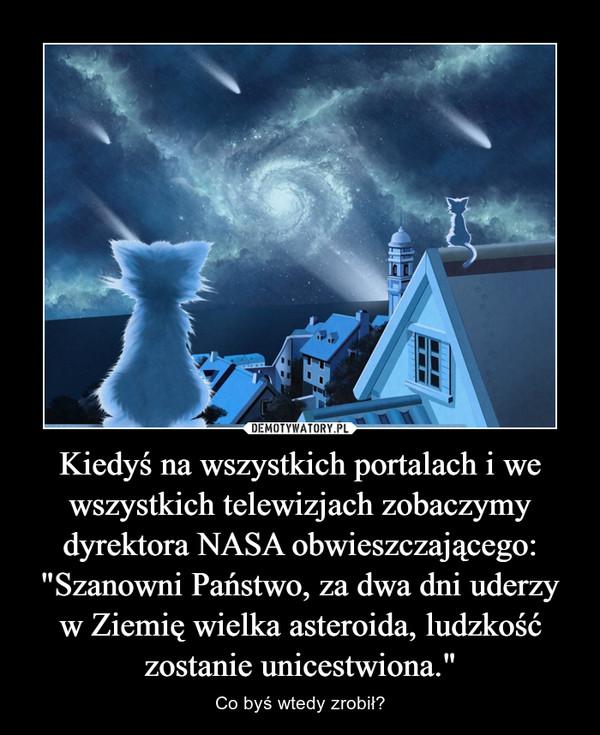 """Kiedyś na wszystkich portalach i we wszystkich telewizjach zobaczymy dyrektora NASA obwieszczającego: """"Szanowni Państwo, za dwa dni uderzy w Ziemię wielka asteroida, ludzkość zostanie unicestwiona."""" – Co byś wtedy zrobił?"""