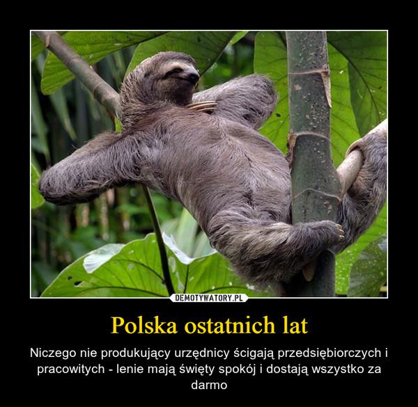 Polska ostatnich lat – Niczego nie produkujący urzędnicy ścigają przedsiębiorczych i pracowitych - lenie mają święty spokój i dostają wszystko za darmo