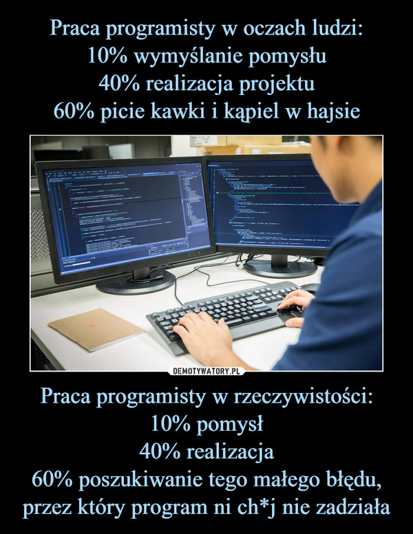 Praca programisty w rzeczywistości:10% pomysł40% realizacja60% poszukiwanie tego małego błędu, przez który program ni ch*j nie zadziała –