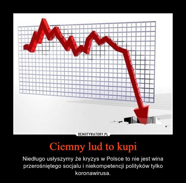 Ciemny lud to kupi – Niedługo usłyszymy że kryzys w Polsce to nie jest wina przerośniętego socjalu i niekompetencji polityków tylko koronawirusa.