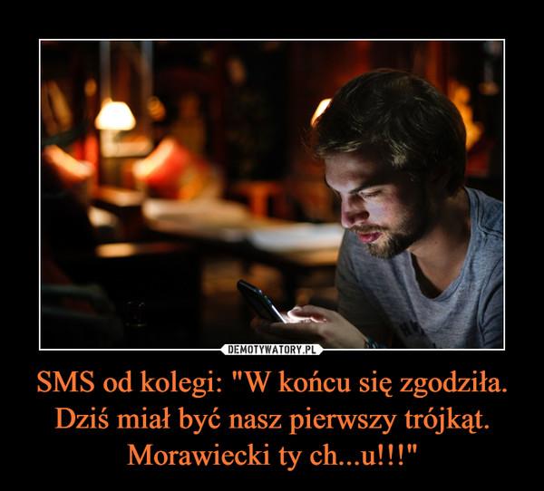 """SMS od kolegi: """"W końcu się zgodziła. Dziś miał być nasz pierwszy trójkąt. Morawiecki ty ch...u!!!"""" –"""