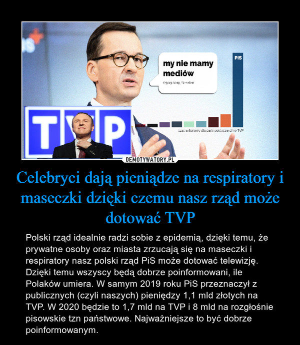 Celebryci dają pieniądze na respiratory i maseczki dzięki czemu nasz rząd może dotować TVP – Polski rząd idealnie radzi sobie z epidemią, dzięki temu, że prywatne osoby oraz miasta zrzucają się na maseczki i respiratory nasz polski rząd PiS może dotować telewizję. Dzięki temu wszyscy będą dobrze poinformowani, ile Polaków umiera. W samym 2019 roku PiS przeznaczył z publicznych (czyli naszych) pieniędzy 1,1 mld złotych na TVP. W 2020 będzie to 1,7 mld na TVP i 8 mld na rozgłośnie pisowskie tzn państwowe. Najważniejsze to być dobrze poinformowanym.
