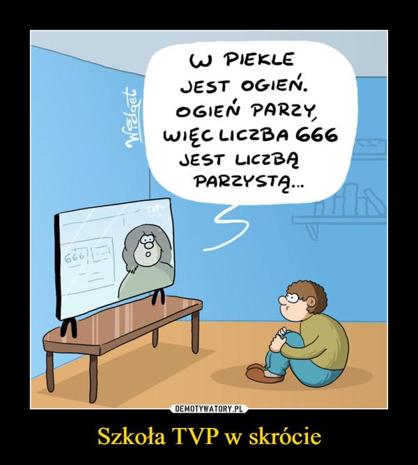 Szkoła TVP w skrócie –  W PIEKLEJEST OGIEŃ.OGIEŃ PARZY,WIĘC LICZBA 666JEST LICZBĄPARZYSTĄ.TVPL666