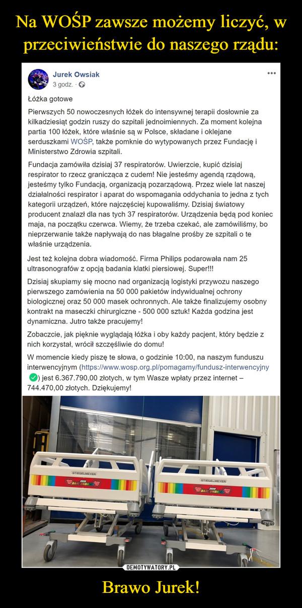 Brawo Jurek! –  Jurek Owsiak...3 godz. · 6Łóżka gotowePierwszych 50 nowoczesnych łóżek do intensywnej terapii dosłownie zakilkadziesiąt godzin ruszy do szpitali jednoimiennych. Za moment kolejnapartia 100 łóżek, które właśnie są w Polsce, składane i oklejaneserduszkami WOŚP, także pomknie do wytypowanych przez Fundację iMinisterstwo Zdrowia szpitali.Fundacja zamówiła dzisiaj 37 respiratorów. Uwierzcie, kupić dzisiajrespirator to rzecz granicząca z cudem! Nie jesteśmy agendą rządową,jesteśmy tylko Fundacją, organizacją pozarządową. Przez wiele lat naszejdziałalności respirator i aparat do wspomagania oddychania to jedna z tychkategorii urządzeń, które najczęściej kupowaliśmy. Dzisiaj światowyproducent znalazł dla nas tych 37 respiratorów. Urządzenia będą pod koniecmaja, na początku czerwca. Wiemy, że trzeba czekać, ale zamówiliśmy, bonieprzerwanie także napływają do nas błagalne prośby ze szpitali o tewłaśnie urządzenia.Jest też kolejna dobra wiadomość. Firma Philips podarowała nam 25ultrasonografów z opcją badania klatki piersiowej. Super!!!Dzisiaj skupiamy się mocno nad organizacją logistyki przywozu naszegopierwszego zamówienia na 50 000 pakietów indywidualnej ochronybiologicznej oraz 50 000 masek ochronnych. Ale także finalizujemy osobnykontrakt na maseczki chirurgiczne - 500 000 sztuk! Każda godzina jestdynamiczna. Jutro także pracujemy!Zobaczcie, jak pięknie wyglądają łóżka i oby każdy pacjent, który będzie znich korzystał, wrócił szczęśliwie do domu!W momencie kiedy piszę te słowa, o godzinie 10:00, na naszym funduszuinterwencyjnym (https://www.wosp.org.pl/pomagamy/fundusz-interwencyjnyO jest 6.367.790,00 złotych, w tym Wasze wpłaty przez internet –744.470,00 złotych. Dziękujemy!STIEGELMEYERSTIEGELMEYER2020DARFUNDACI2020SDAR FUNDA