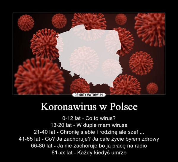 Koronawirus w Polsce – 0-12 lat - Co to wirus?13-20 lat - W dupie mam wirusa21-40 lat - Chronię siebie i rodzinę ale szef ...41-65 lat - Co? Ja zachoruje? Ja całe życie byłem zdrowy66-80 lat - Ja nie zachoruje bo ja płacę na radio81-xx lat - Każdy kiedyś umrze