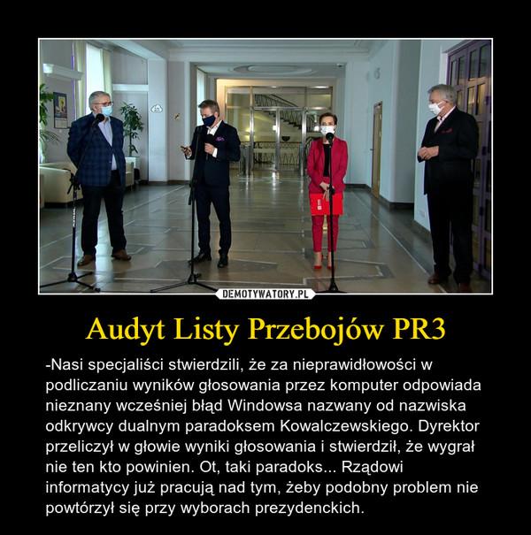 Audyt Listy Przebojów PR3 – -Nasi specjaliści stwierdzili, że za nieprawidłowości w podliczaniu wyników głosowania przez komputer odpowiada nieznany wcześniej błąd Windowsa nazwany od nazwiska odkrywcy dualnym paradoksem Kowalczewskiego. Dyrektor przeliczył w głowie wyniki głosowania i stwierdził, że wygrał nie ten kto powinien. Ot, taki paradoks... Rządowi informatycy już pracują nad tym, żeby podobny problem nie powtórzył się przy wyborach prezydenckich.