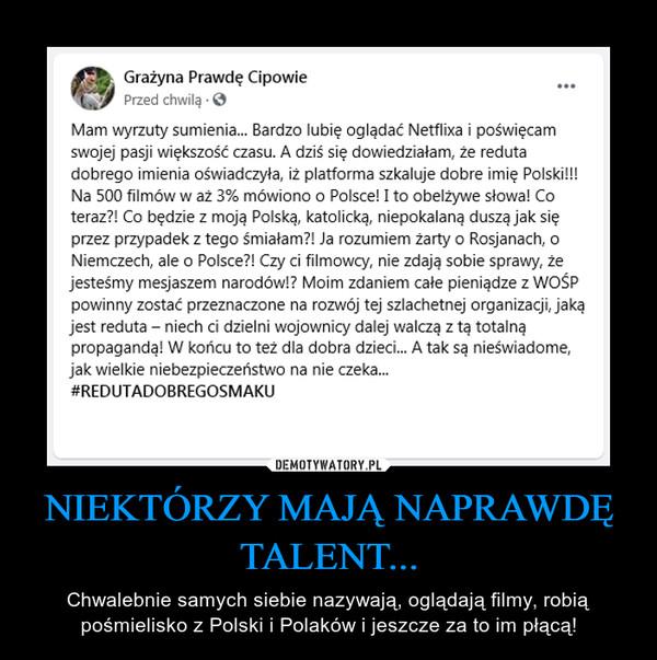 NIEKTÓRZY MAJĄ NAPRAWDĘ TALENT... – Chwalebnie samych siebie nazywają, oglądają filmy, robią pośmielisko z Polski i Polaków i jeszcze za to im płącą!