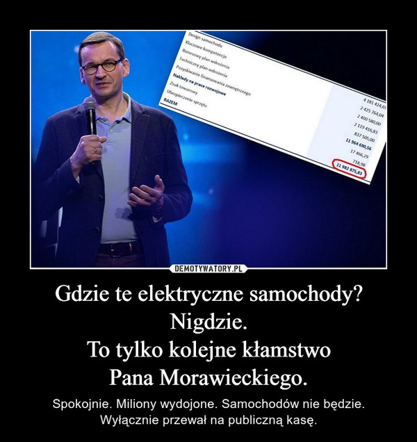 Gdzie te elektryczne samochody?Nigdzie.To tylko kolejne kłamstwoPana Morawieckiego. – Spokojnie. Miliony wydojone. Samochodów nie będzie.Wyłącznie przewał na publiczną kasę.