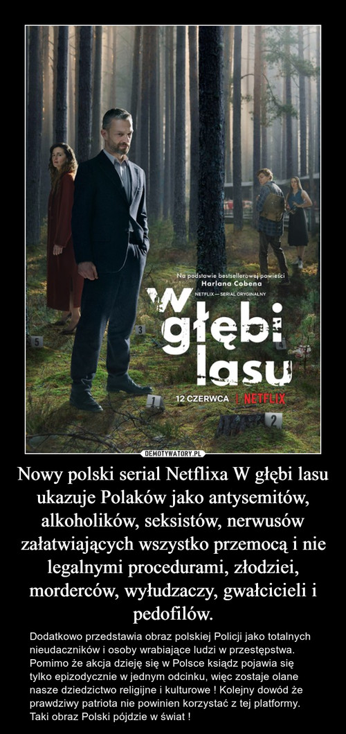 Nowy polski serial Netflixa W głębi lasu ukazuje Polaków jako antysemitów, alkoholików, seksistów, nerwusów załatwiających wszystko przemocą i nie legalnymi procedurami, złodziei, morderców, wyłudzaczy, gwałcicieli i pedofilów.