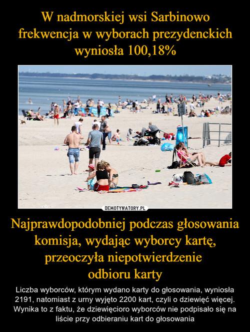 W nadmorskiej wsi Sarbinowo frekwencja w wyborach prezydenckich wyniosła 100,18% Najprawdopodobniej podczas głosowania komisja, wydając wyborcy kartę, przeoczyła niepotwierdzenie  odbioru karty