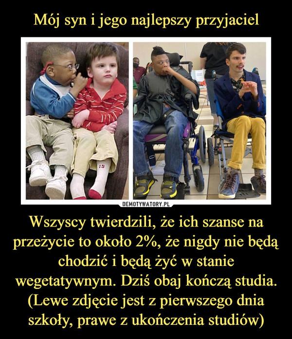 Wszyscy twierdzili, że ich szanse na przeżycie to około 2%, że nigdy nie będą chodzić i będą żyć w stanie wegetatywnym. Dziś obaj kończą studia. (Lewe zdjęcie jest z pierwszego dnia szkoły, prawe z ukończenia studiów) –