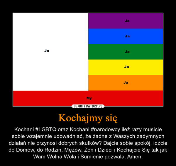 Kochajmy się – Kochani #LGBTQ oraz Kochani #narodowcy ileż razy musicie sobie wzajemnie udowadniać, że żadne z Waszych zadymnych działań nie przynosi dobrych skutków? Dajcie sobie spokój, idźcie do Domów, do Rodzin, Mężów, Żon i Dzieci i Kochajcie Się tak jak Wam Wolna Wola i Sumienie pozwala. Amen.