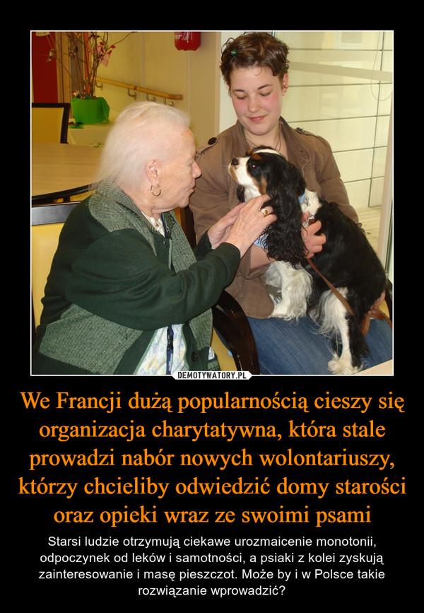 We Francji dużą popularnością cieszy się organizacja charytatywna, która stale prowadzi nabór nowych wolontariuszy, którzy chcieliby odwiedzić domy starości oraz opieki wraz ze swoimi psami – Starsi ludzie otrzymują ciekawe urozmaicenie monotonii, odpoczynek od leków i samotności, a psiaki z kolei zyskują zainteresowanie i masę pieszczot. Może by i w Polsce takie rozwiązanie wprowadzić?