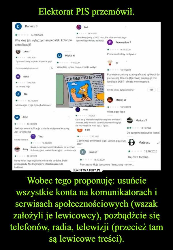 Wobec tego proponuję: usuńcie wszystkie konta na komunikatorach i serwisach społecznościowych (wszak założyli je lewicowcy), pozbądźcie się telefonów, radia, telewizji (przecież tam są lewicowe treści). –