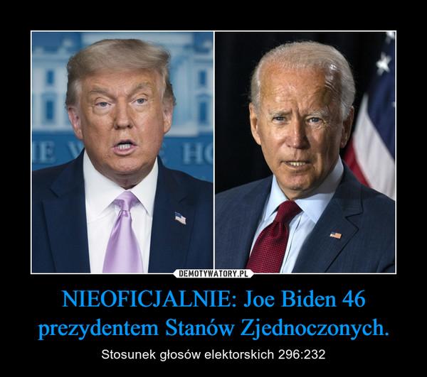 NIEOFICJALNIE: Joe Biden 46 prezydentem Stanów Zjednoczonych. – Stosunek głosów elektorskich 296:232