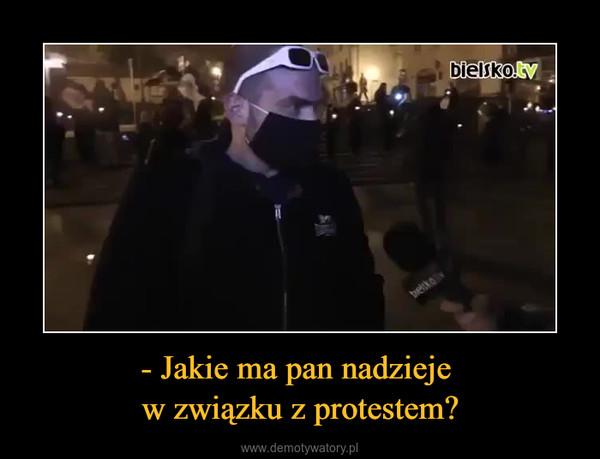 - Jakie ma pan nadzieje w związku z protestem? –