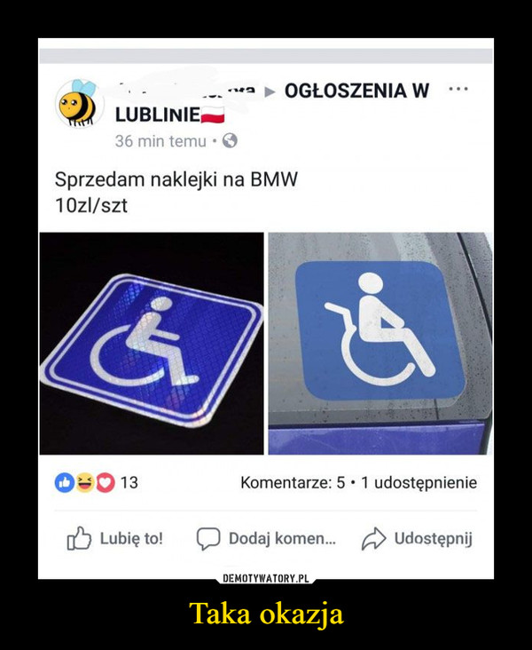 Taka okazja –  Sprzedam naklejki na BMW