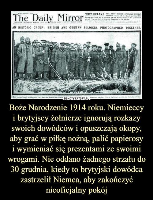 Boże Narodzenie 1914 roku. Niemieccy i brytyjscy żołnierze ignorują rozkazy swoich dowódców i opuszczają okopy, aby grać w piłkę nożną, palić papierosy i wymieniać się prezentami ze swoimi wrogami. Nie oddano żadnego strzału do 30 grudnia, kiedy to brytyjski dowódca zastrzelił Niemca, aby zakończyć nieoficjalny pokój