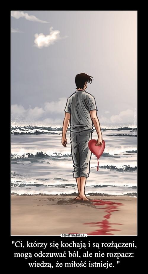 """""""Ci, którzy się kochają i są rozłączeni, mogą odczuwać ból, ale nie rozpacz: wiedzą, że miłość istnieje. """""""