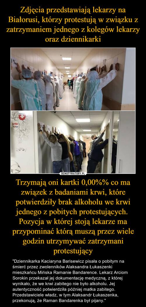 Zdjęcia przedstawiają lekarzy na Białorusi, którzy protestują w związku z zatrzymaniem jednego z kolegów lekarzy oraz dziennikarki Trzymają oni kartki 0,00%% co ma związek z badaniami krwi, które potwierdziły brak alkoholu we krwi jednego z pobitych protestujących.  Pozycja w której stoją lekarze ma przypominać którą muszą przez wiele godzin utrzymywać zatrzymani protestujący