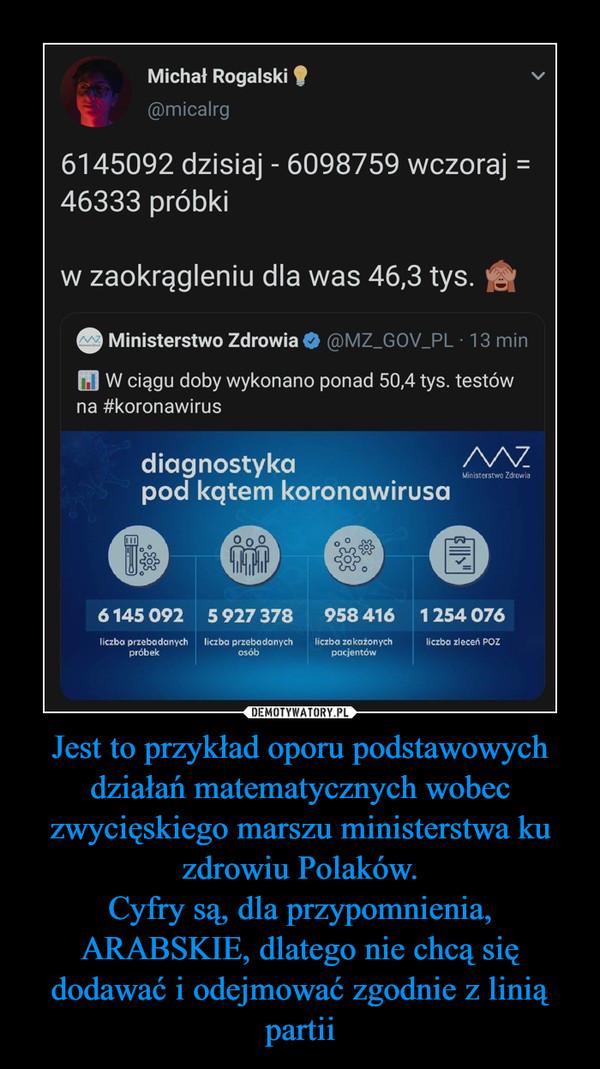 Jest to przykład oporu podstawowych działań matematycznych wobec zwycięskiego marszu ministerstwa ku zdrowiu Polaków.Cyfry są, dla przypomnienia, ARABSKIE, dlatego nie chcą się dodawać i odejmować zgodnie z linią partii –