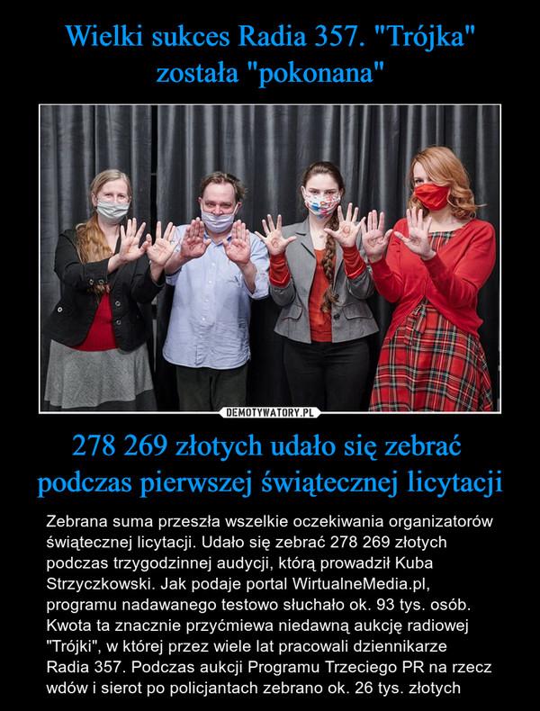 """278 269 złotych udało się zebrać podczas pierwszej świątecznej licytacji – Zebrana suma przeszła wszelkie oczekiwania organizatorów świątecznej licytacji. Udało się zebrać 278 269 złotych podczas trzygodzinnej audycji, którą prowadził Kuba Strzyczkowski. Jak podaje portal WirtualneMedia.pl, programu nadawanego testowo słuchało ok. 93 tys. osób.Kwota ta znacznie przyćmiewa niedawną aukcję radiowej """"Trójki"""", w której przez wiele lat pracowali dziennikarze Radia 357. Podczas aukcji Programu Trzeciego PR na rzecz wdów i sierot po policjantach zebrano ok. 26 tys. złotych"""