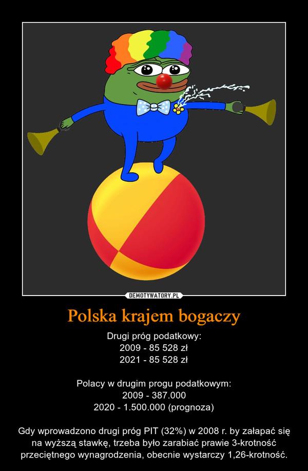 Polska krajem bogaczy – Drugi próg podatkowy:2009 - 85 528 zł2021 - 85 528 złPolacy w drugim progu podatkowym:2009 - 387.0002020 - 1.500.000 (prognoza)Gdy wprowadzono drugi próg PIT (32%) w 2008 r. by załapać się na wyższą stawkę, trzeba było zarabiać prawie 3-krotność przeciętnego wynagrodzenia, obecnie wystarczy 1,26-krotność.