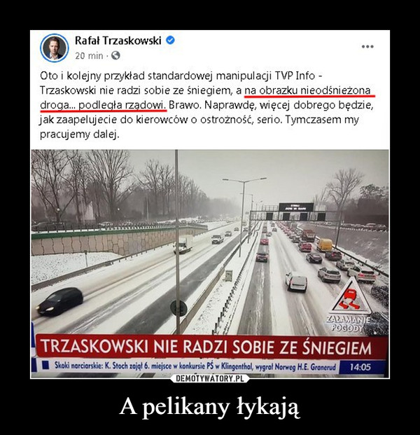 A pelikany łykają –  Rafał Trzaskowski 20 min .0 Oto i kolejny przykład standardowej manipulacji TVP Info - Trzaskowski nie radzi sobie ze śniegiem, a na obrazku nieodśnieżona  droga... podległa rządowi. Brawo. Naprawdę, więcej dobrego będzie, jak zaapelujecie do kierowców o ostrożność, serio. Tymczasem my pracujemy dalej.
