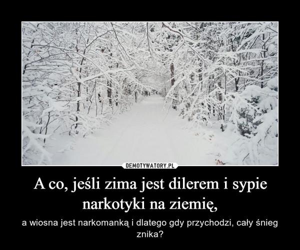 A co, jeśli zima jest dilerem i sypie narkotyki na ziemię, – a wiosna jest narkomanką i dlatego gdy przychodzi, cały śnieg znika?