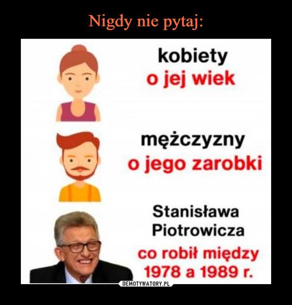–  kobietyo jej wiekmężczyznyo jego zarobkiStanisławaPiotrowiczaco robił między1978 a 1989 r.