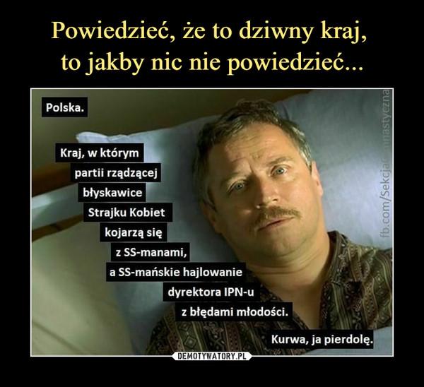 –  Polska. Kraj, w którym partii rządzącej błyskawice Strajku Kobiet kojarzą się a SS-mańskie hajlowanie dyrektora IPN-u z błędami młodości. Kurwa, ja pierdolę.
