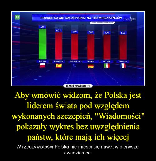 """Aby wmówić widzom, że Polska jest liderem świata pod względem wykonanych szczepień, """"Wiadomości"""" pokazały wykres bez uwzględnienia państw, które mają ich więcej"""