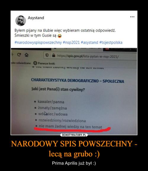 NARODOWY SPIS POWSZECHNY - lecą na grubo :)