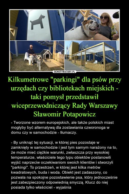 """Kilkumetrowe """"parkingi"""" dla psów przy urzędach czy bibliotekach miejskich - taki pomysł przedstawił wiceprzewodniczący Rady Warszawy Sławomir Potapowicz"""