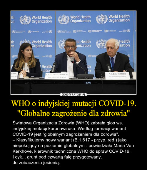 """WHO o indyjskiej mutacji COVID-19. """"Globalne zagrożenie dla zdrowia"""""""