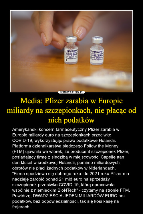 Media: Pfizer zarabia w Europie miliardy na szczepionkach, nie płacąc od nich podatków