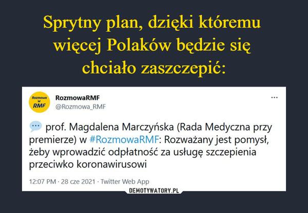 –  prof. Magdalena Marczyńska (Rada Medyczna przy premierze) w #RozmowaRMF: Rozważany jest pomysł, żeby wprowadzić odpłatność za usługę szczepienia przeciwko koronawirusowi