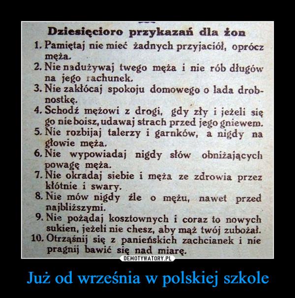 Już od września w polskiej szkole –