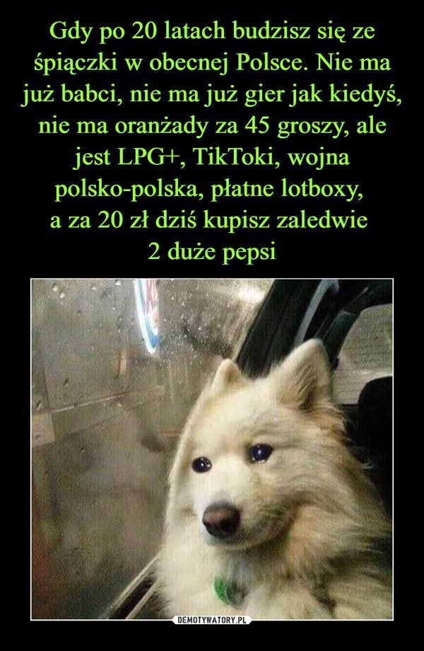 Gdy po 20 latach budzisz się ze śpiączki w obecnej Polsce. Nie ma już babci, nie ma już gier jak kiedyś, nie ma oranżady za 45 groszy, ale jest LPG+, TikToki, wojna polsko-polska, płatne lotboxy,  a za 20 zł dziś kupisz zaledwie  2 duże pepsi