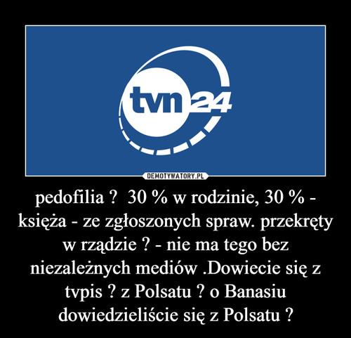 pedofilia ?  30 % w rodzinie, 30 % - księża - ze zgłoszonych spraw. przekręty w rządzie ? - nie ma tego bez niezależnych mediów .Dowiecie się z tvpis ? z Polsatu ? o Banasiu dowiedzieliście się z Polsatu ?