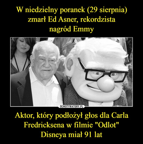 """W niedzielny poranek (29 sierpnia) zmarł Ed Asner, rekordzista nagród Emmy Aktor, który podłożył głos dla Carla Fredricksena w filmie """"Odlot"""" Disneya miał 91 lat"""