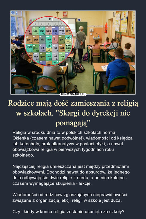 """Rodzice mają dość zamieszania z religią w szkołach. """"Skargi do dyrekcji nie pomagają"""""""