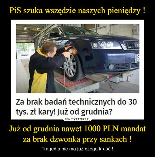 PiS szuka wszędzie naszych pieniędzy ! Już od grudnia nawet 1000 PLN mandat za brak dzwonka przy sankach !
