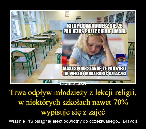 Trwa odpływ młodzieży z lekcji religii, w niektórych szkołach nawet 70% wypisuje się z zajęć – Właśnie PiS osiągnął efekt odwrotny do oczekiwanego... Bravo!!